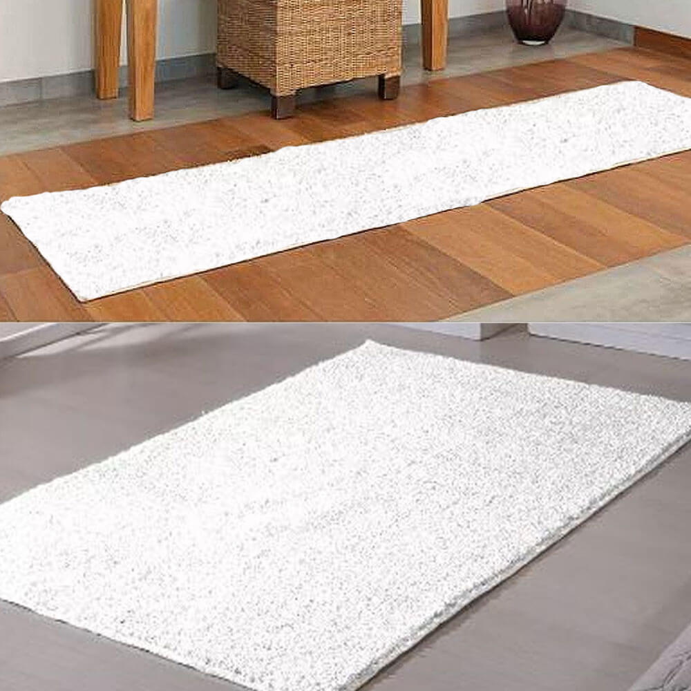 Kit 2 Tapetes Classic 1 Retangular 100 x 150 cm 1 Passadeira 66 x 230 cm Branco