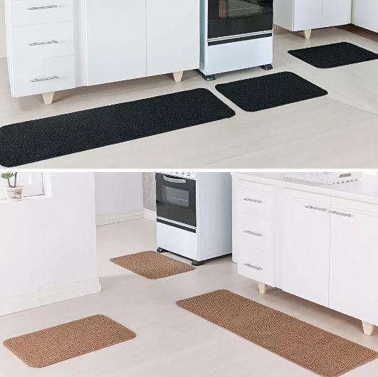 Kit 2 Tapetes Cozinha Relevo 3 Peças Cada Caramelo Preto