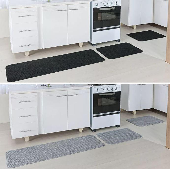 Kit 2 Tapetes Cozinha Relevo 3 Peças Cada Prata e  Preto