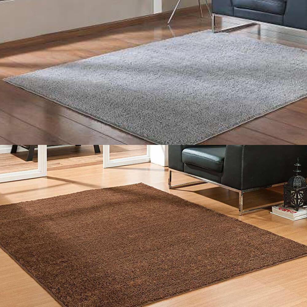 Kit 2 Tapetes Sala Quarto 100 X 150 Classic 1 Cinza 1 Marrom