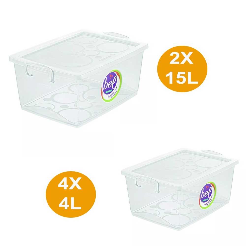 Kit 4 Caixa Organizadora Com Trava 4l E 2 Caixa 15l Cristal