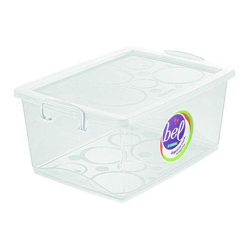 Kit 4 Caixa Organizadora Trava 4L  2 Cristal 1 Azul e 1 Pink