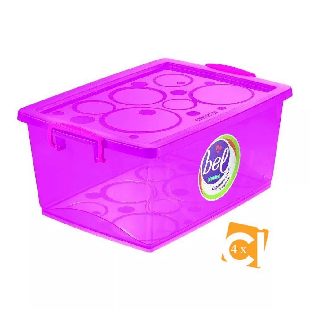 Kit 4 Caixas Organizadoras Com Trava 30l Pink Ordene