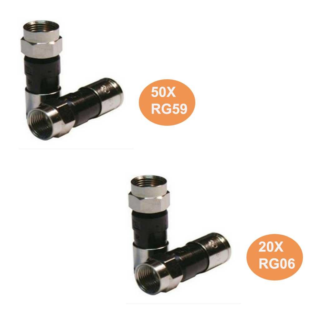 Kit 50 Conectores RG59 E 20 Conectores RG06