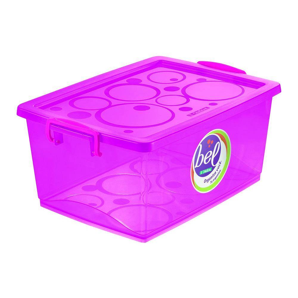 Kit 5 Caixa Organizadora Com Trava 30l E 2 Caixa 60l Pink