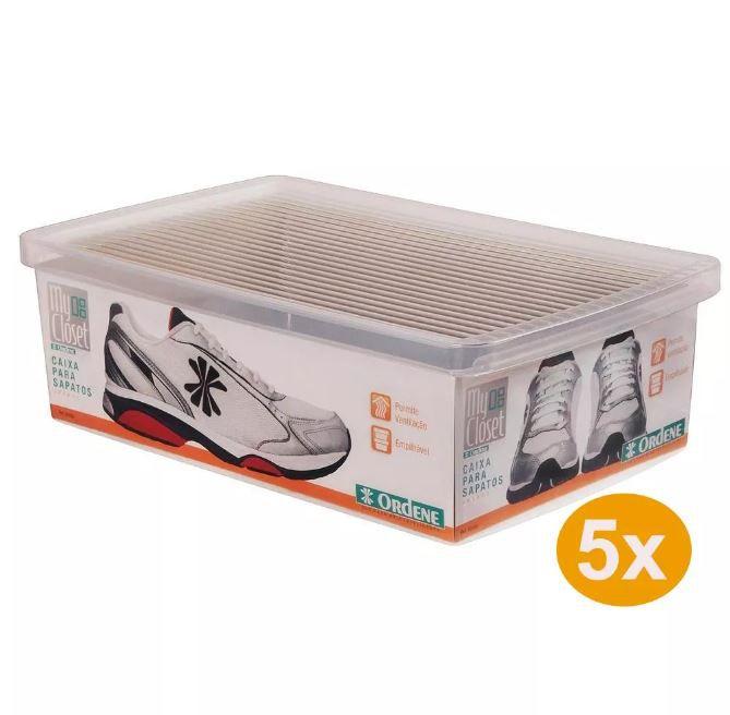 Kit 5 Caixas Sapato Grande Ordene - OR60400