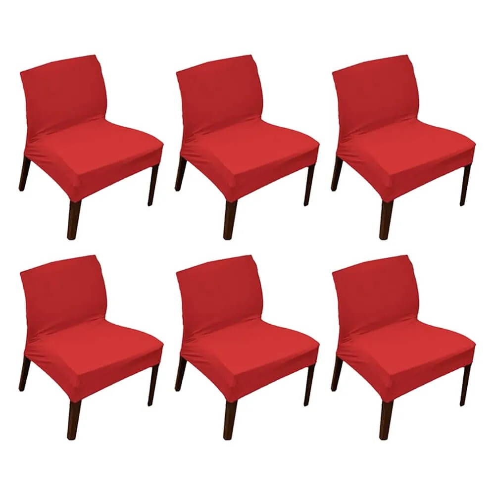 Kit 6 Capa de Cadeira Master Lisa Vermelha Sultan