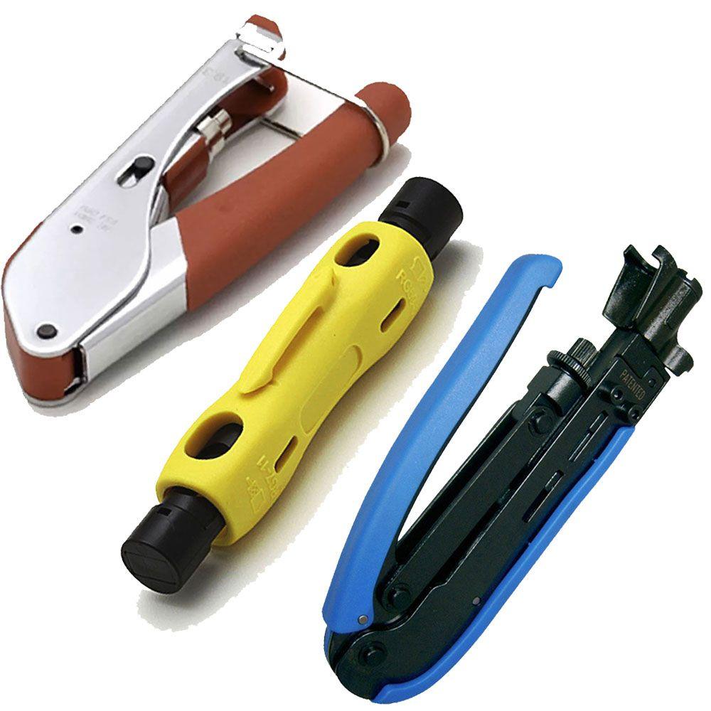 Kit Alicate Compressão Rg6 Rg59 Rg11 Crimpar Decapar Coaxial