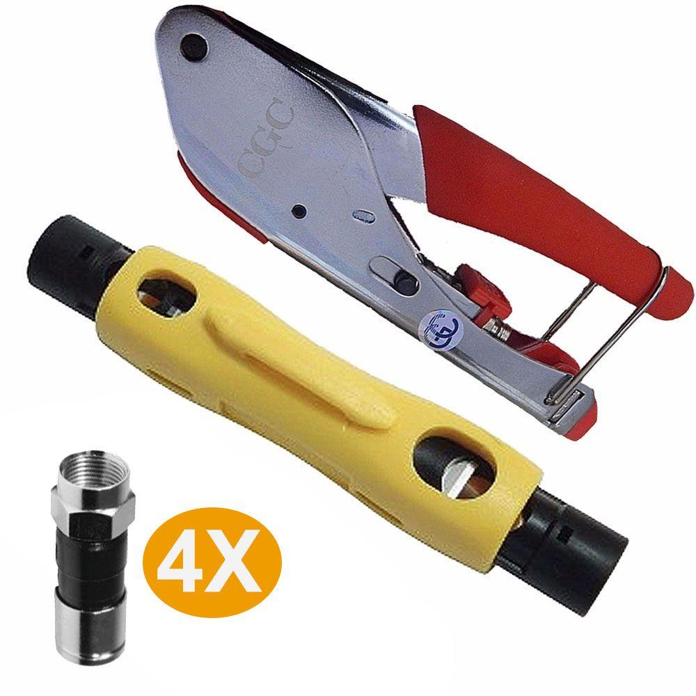 Kit Alicate Crimpar 518 E Decapador 323 e 4 Conectores Rg06