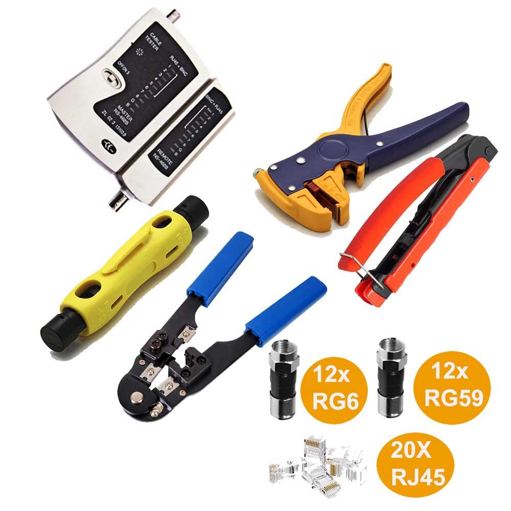 Kit Alicate Crimpar Decapador Testador 20 Rj45 12 Rg6 E Rg59