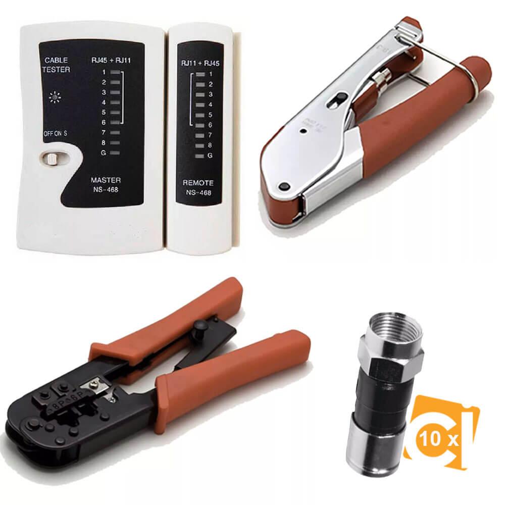 Kit Alicate Crimpar H518A1 HY568R Testador WH468 BNC 10 Rg6