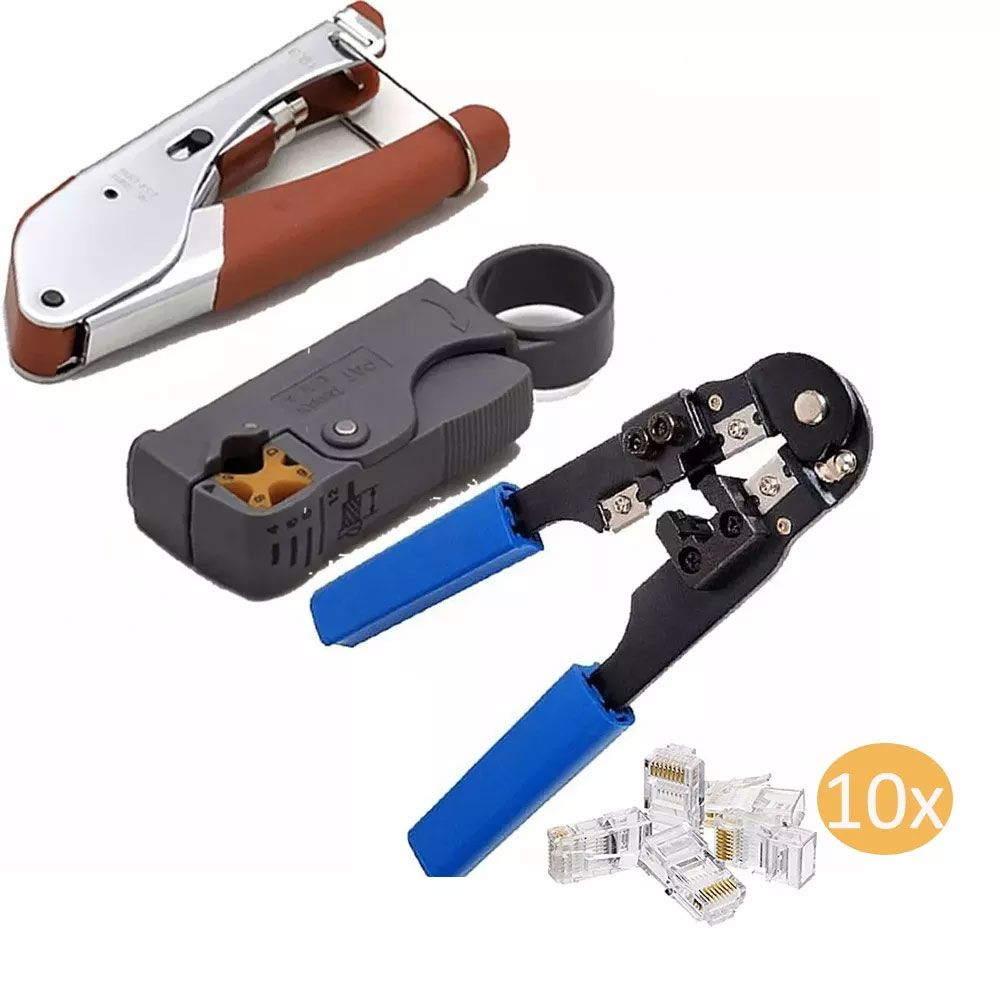 Kit Alicate Crimpar Hy210c H518a1 E Hy332 Rj45 Rg6 10 Rj45