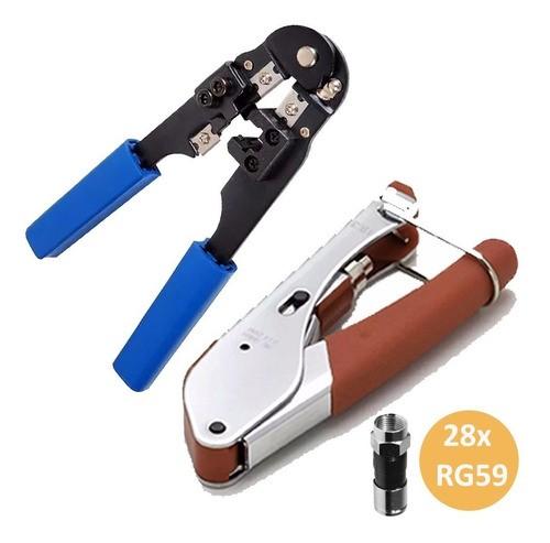 Kit Alicate De Crimpar Corte Cabo Rede Rj45 Rg6 E 28 Rg59