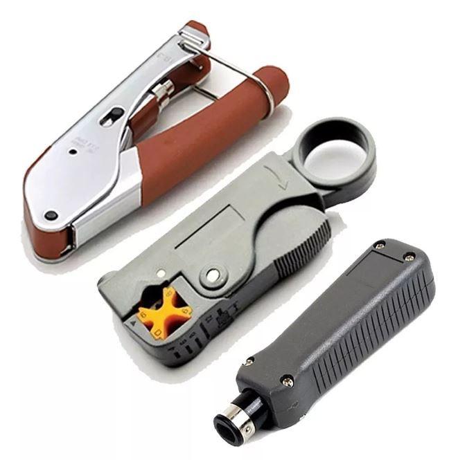 Kit Alicate De Crimpar E Decapar Rg6 Rg59 E Punch Down