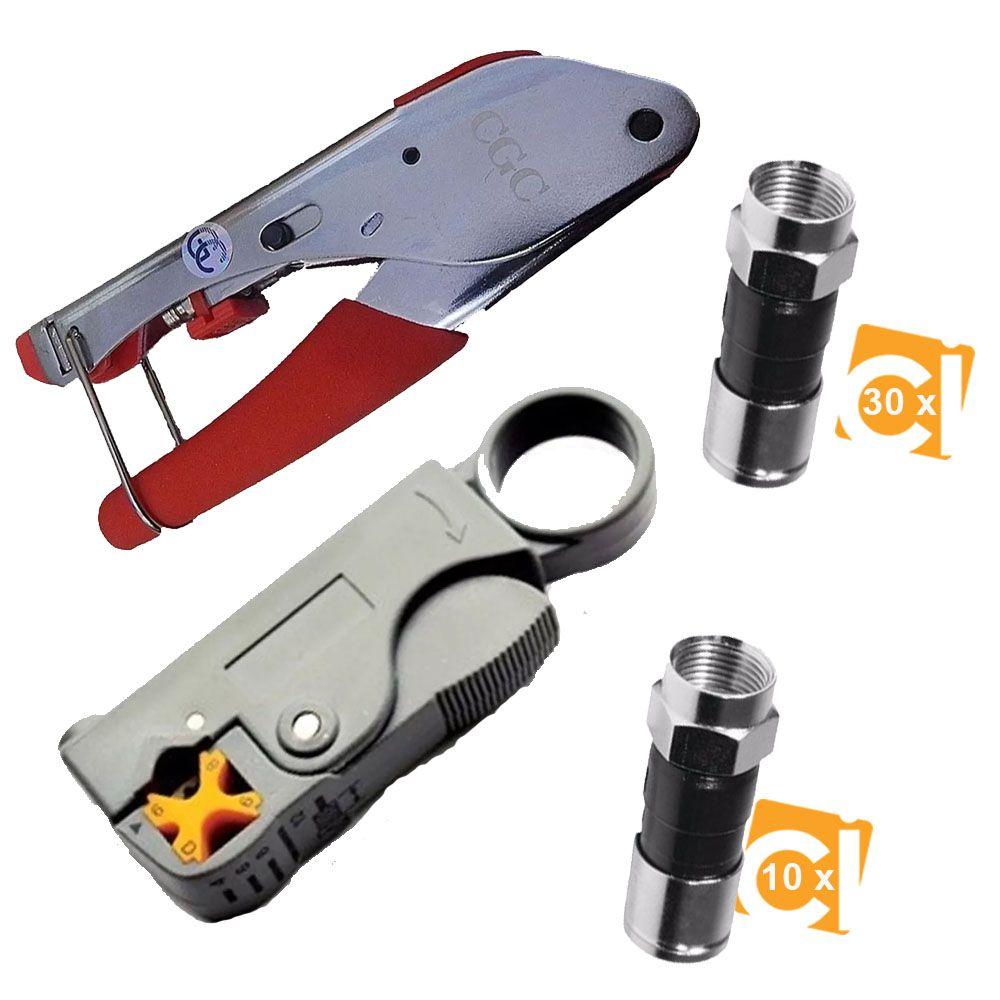 Kit Alicate para Crimpar e Decapar 10 RG59 30 RG6 BNC H518A1 + HY332