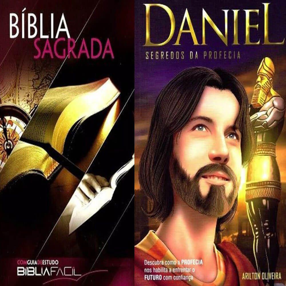Kit Biblia Facil com Guia de Estudos e Livro Daniel Segredos da Profecia Pr. Arilton Oliveira CPB