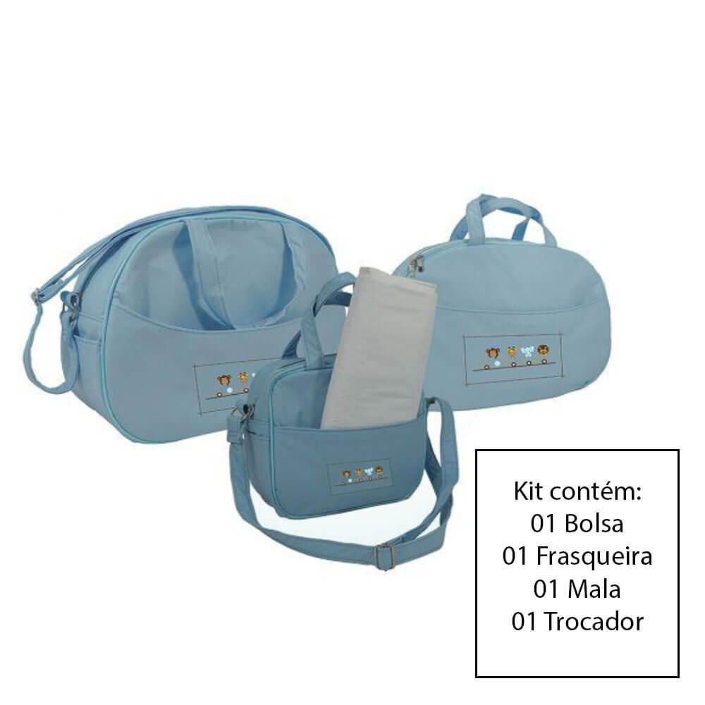 Kit Bolsa Maternidade 3 Peças Azul Bebe Sapeca Kids