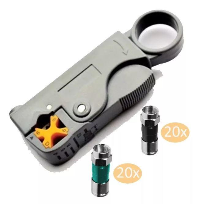 Kit Decapador Decapador Hy-332 + 20 Conectores Rg6 20 Rg59
