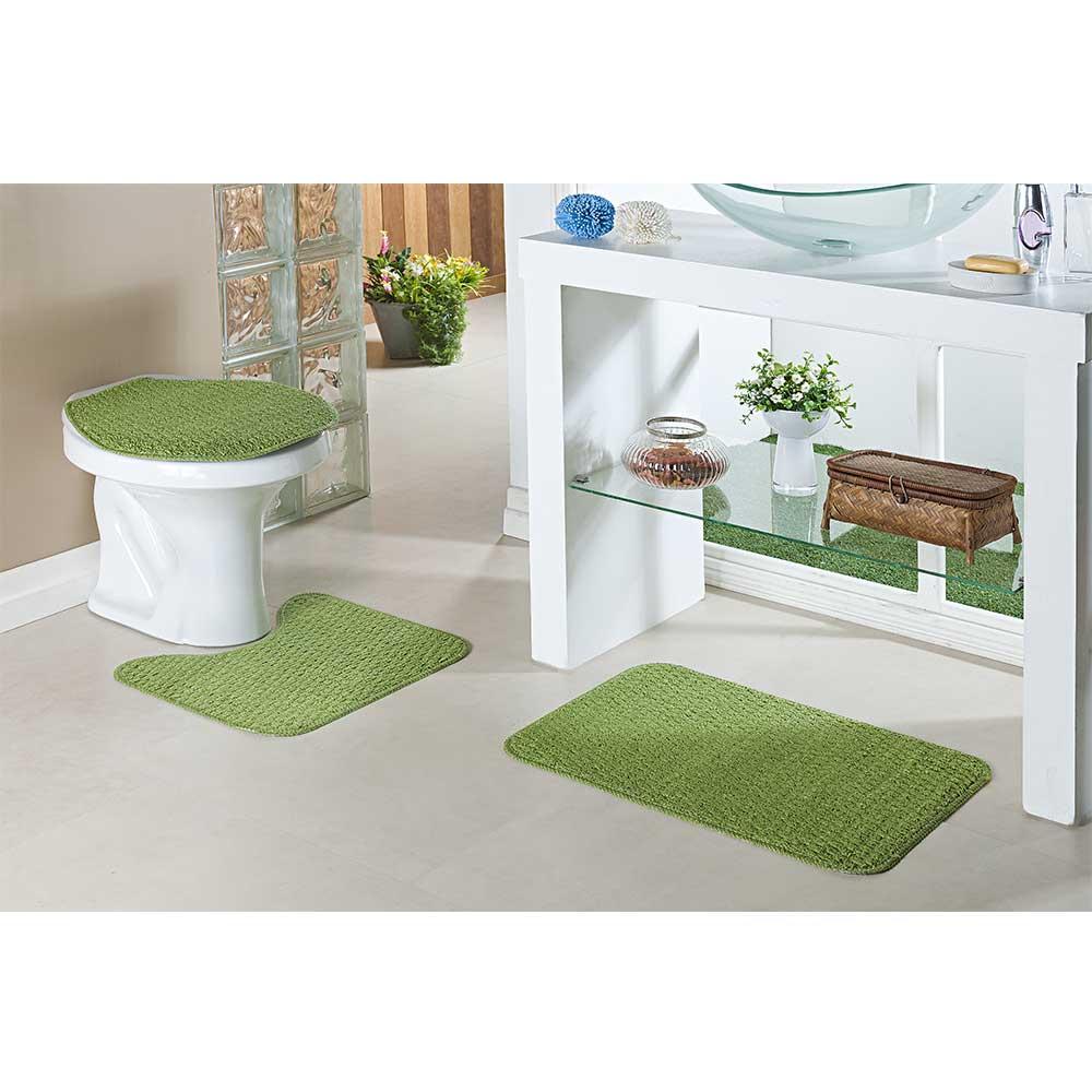 Kit Jogo De Tapete Para Banheiro Relevo 3 Peças Verde
