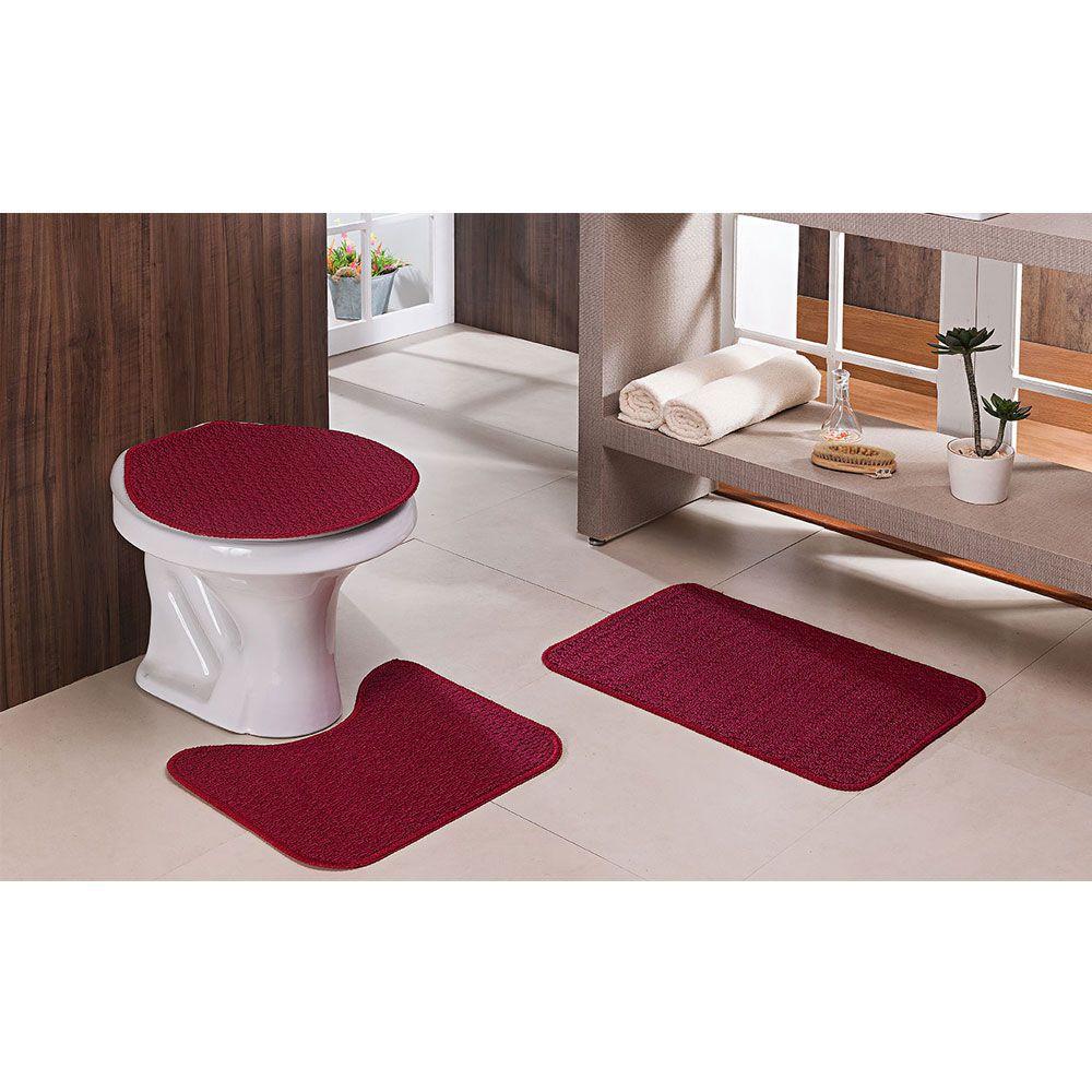 Kit Jogo De Tapete Para Banheiro Relevo 3 Peças Vermelho