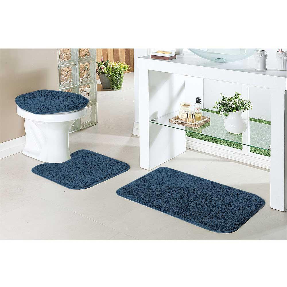 Jogo Tapete Banheiro 3 Peças Classic Azul Jeans