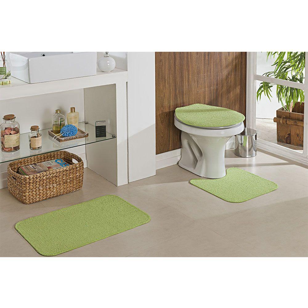 Kit Jogo Tapete Banheiro 3 Peças Natura 100% Algodão Verde