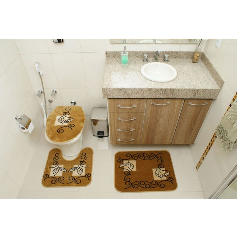 Kit Jogo Tapete Banheiro 3 Peças Royal Luxury Caramelo 102-3