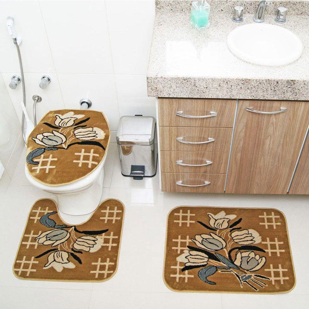 Jogo de Tapete Banheiro Veludo 3 Peças Royal Luxury Caramelo 104-3 Rayza