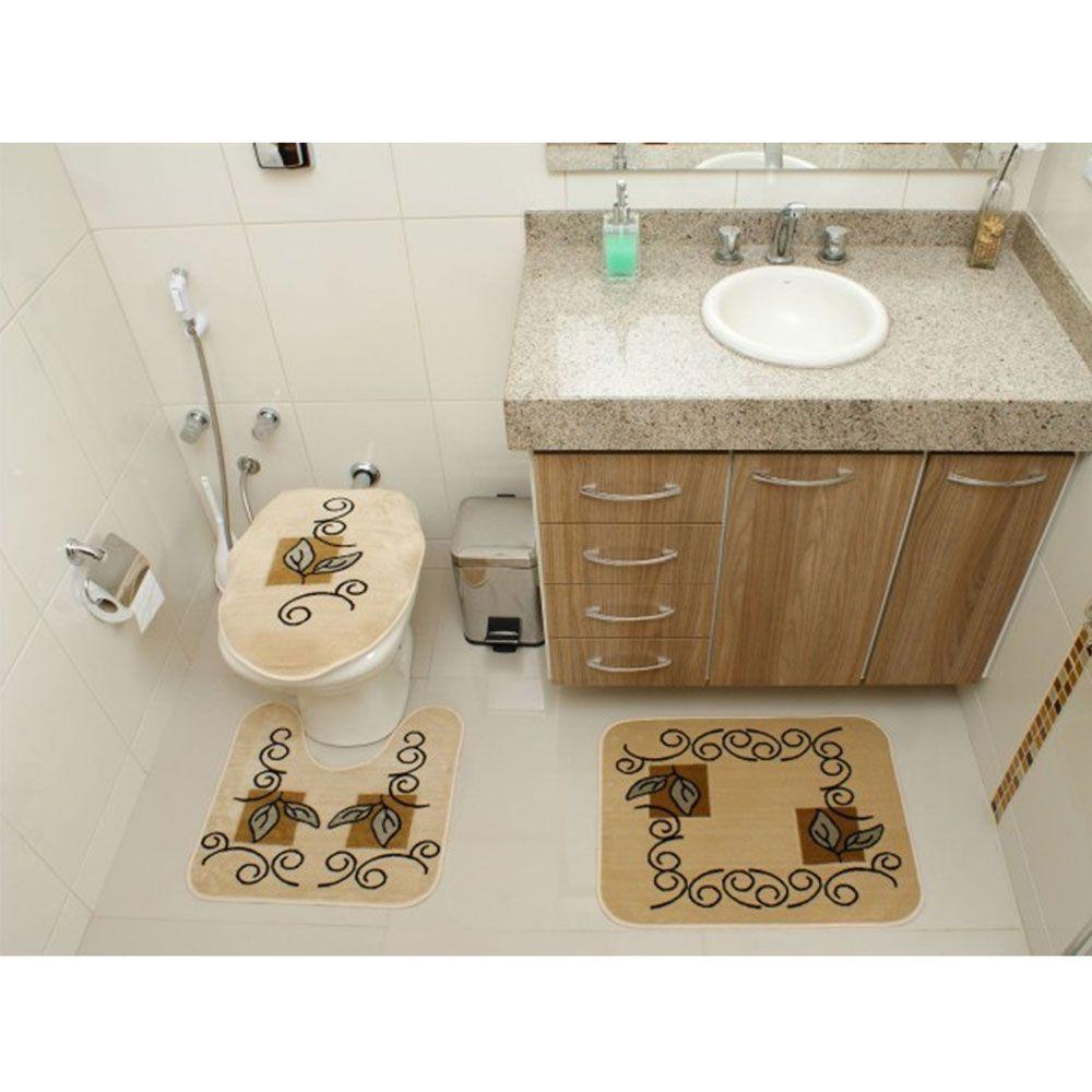 Jogo de Tapete Banheiro Veludo 3 Peças Royal Luxury Creme 102-4 Rayza