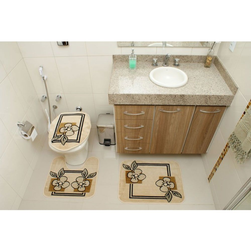 Jogo de Tapete Banheiro Veludo 3 Peças Royal Luxury Creme 103-4 Rayza