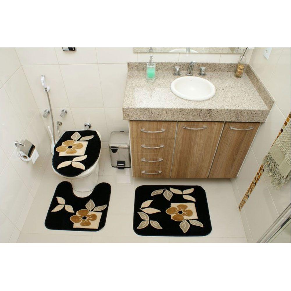 Jogo de Tapete Banheiro Veludo 3 Peças Royal Luxury Preto 101-1Rayza