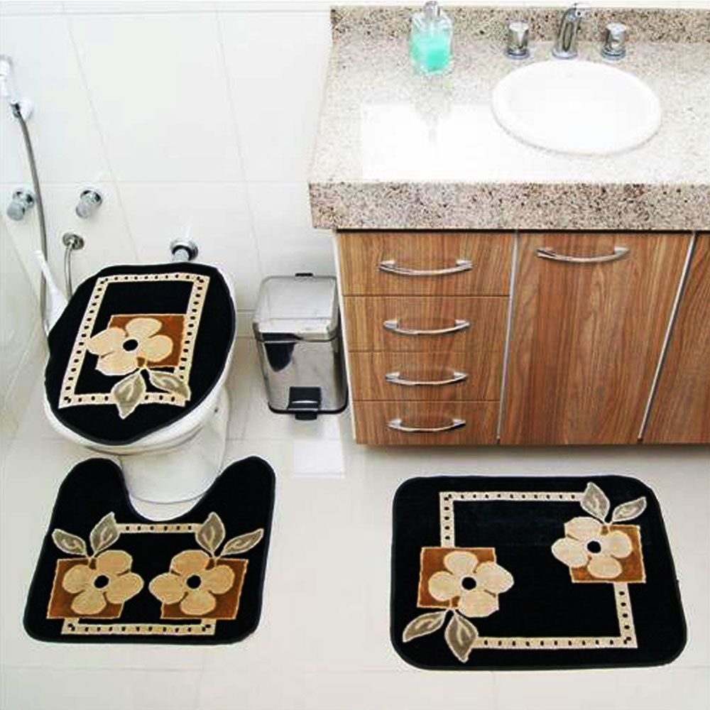 Jogo de Tapete Banheiro Veludo 3 Peças Royal Luxury Preto 103-1 Rayza