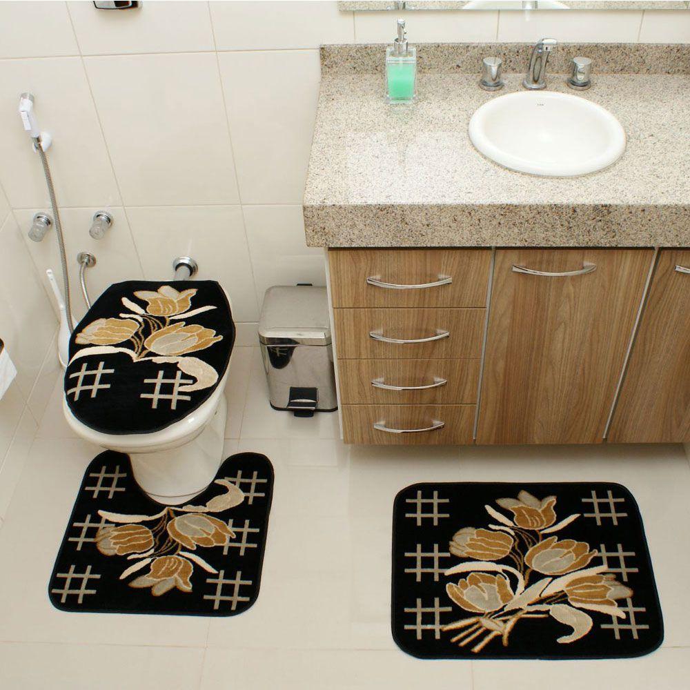 Kit Jogo Tapete Banheiro 3 Peças Royal Luxury Preto 104-1