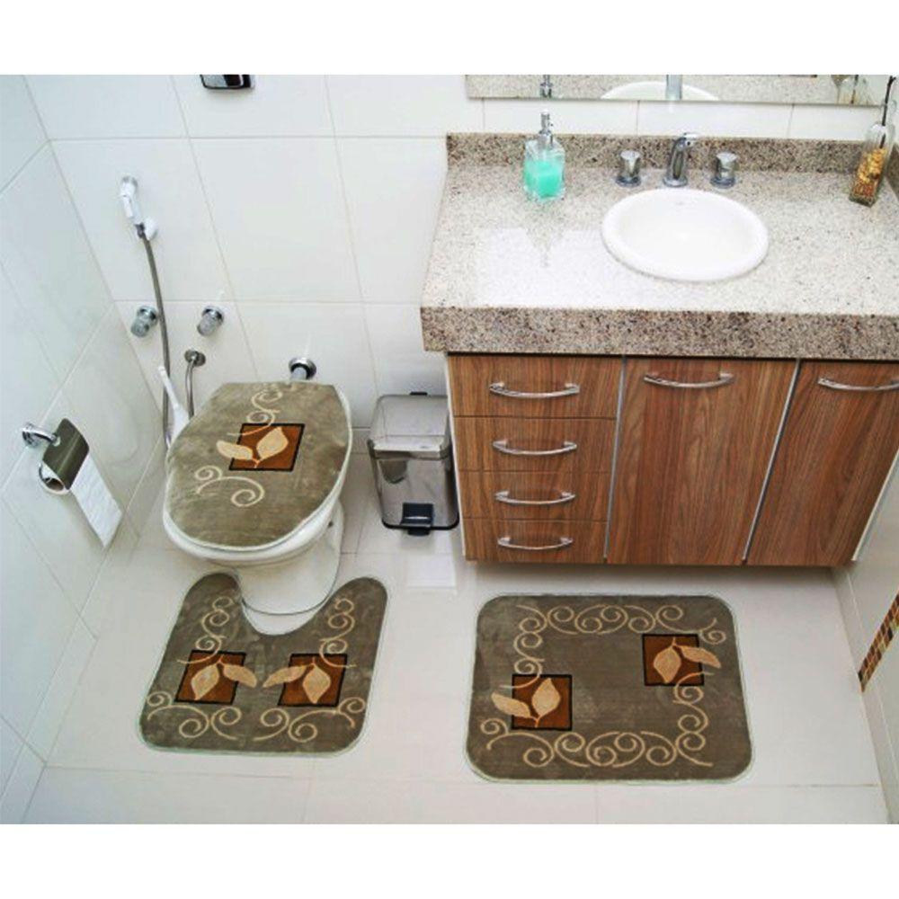 Kit Jogo Tapete Banheiro 3 Peças Royal Luxury Verde 102-2