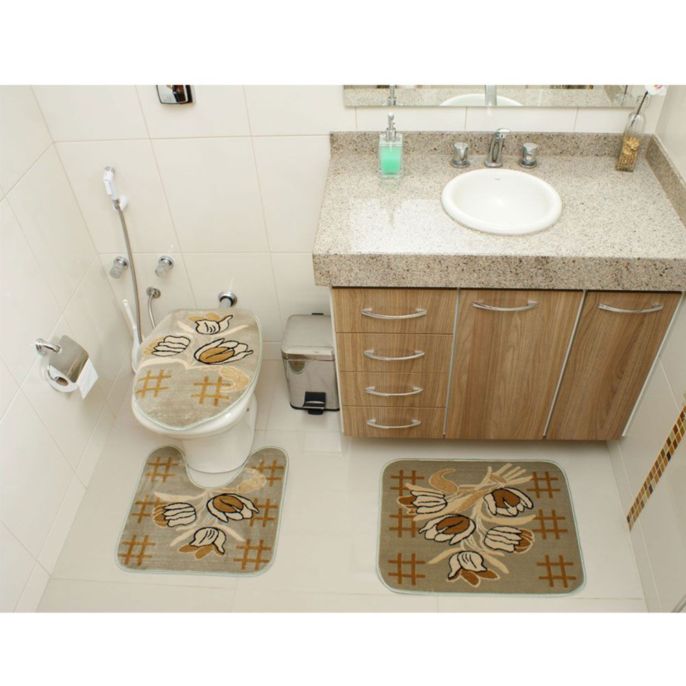 Kit Jogo Tapete Banheiro 3 Peças Royal Luxury Verde 104-2