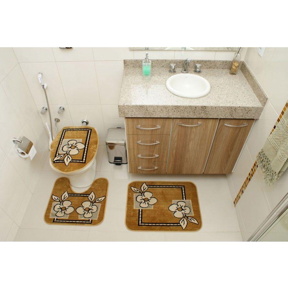 Kit Jogo Tapete Banheiro 3 Peças Royal Luxury Caramelo 103-3