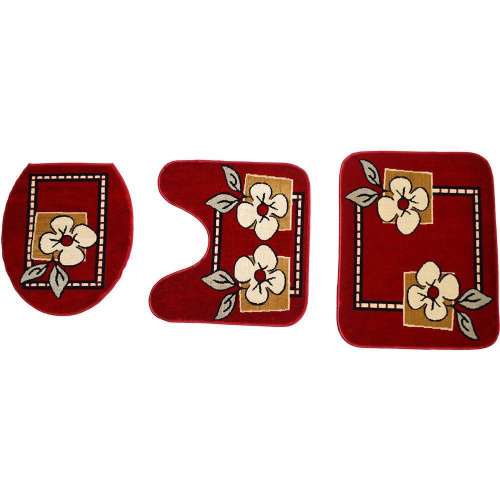 Jogo de Tapete Banheiro Veludo 3 Peças Royal Luxury Vermelho 103-6 Rayza