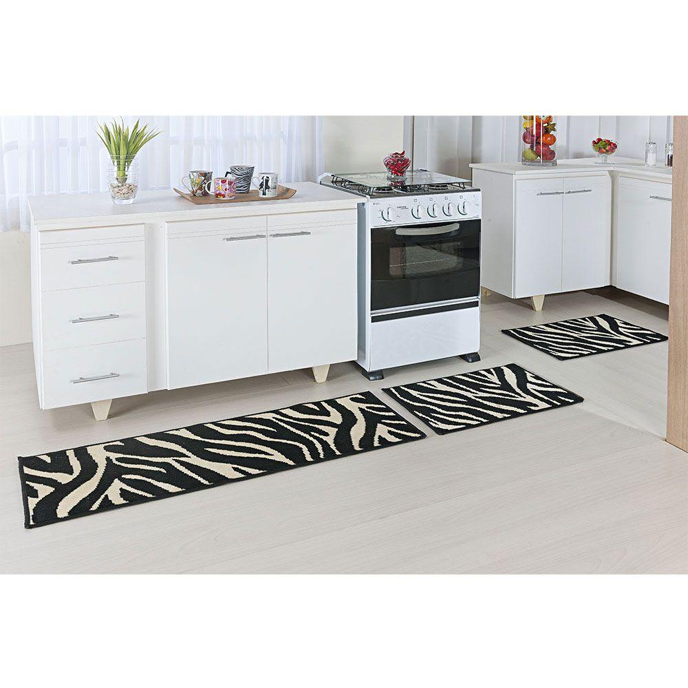 Jogo Tapete De Cozinha 3 Peças Europa Madrid Zebra Kenia Preto