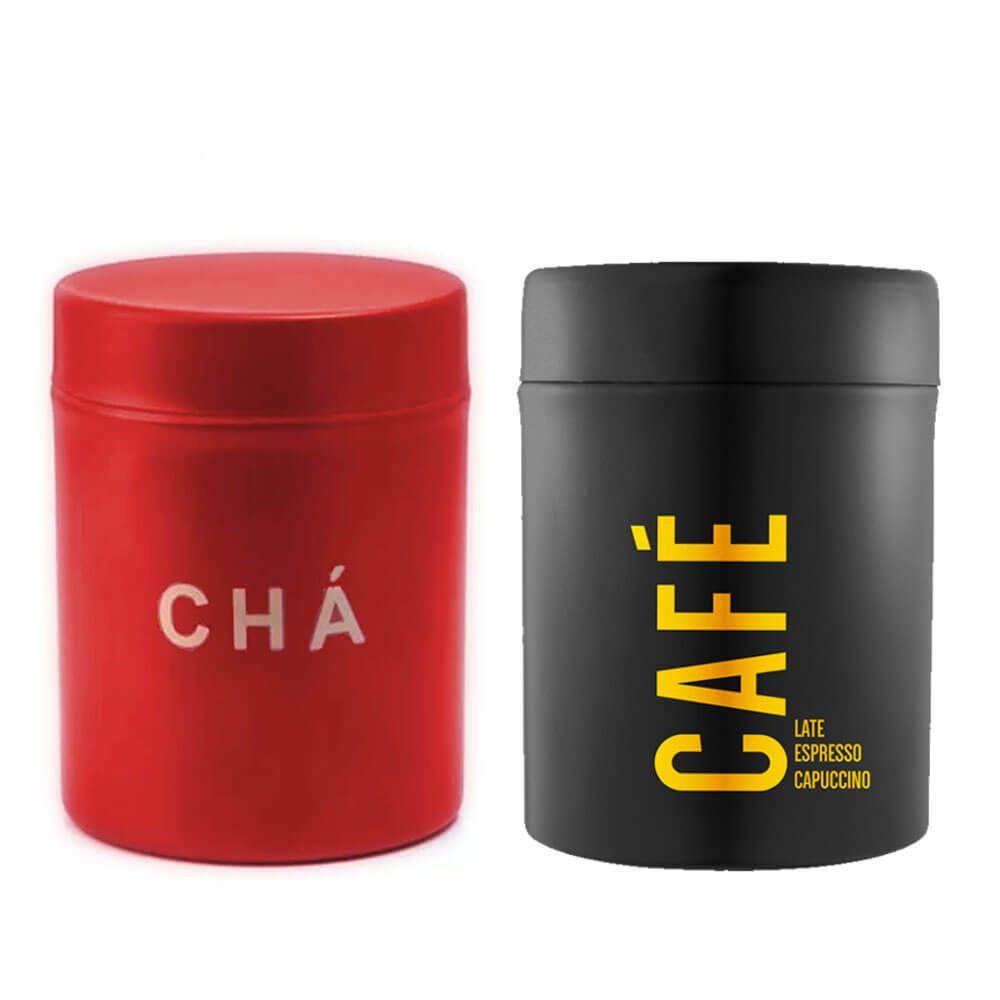Pote Para Café e Chá Aço Inox Preto e Vermelho Attuale