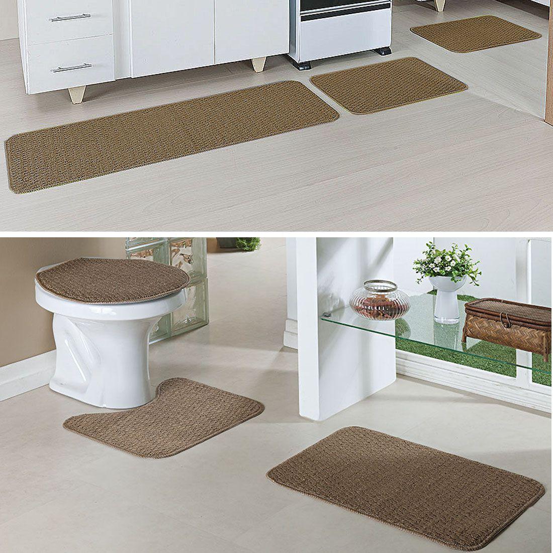 Kit Tapete 3 Peças Cada Cozinha e Banheiro Relevo Caramelo