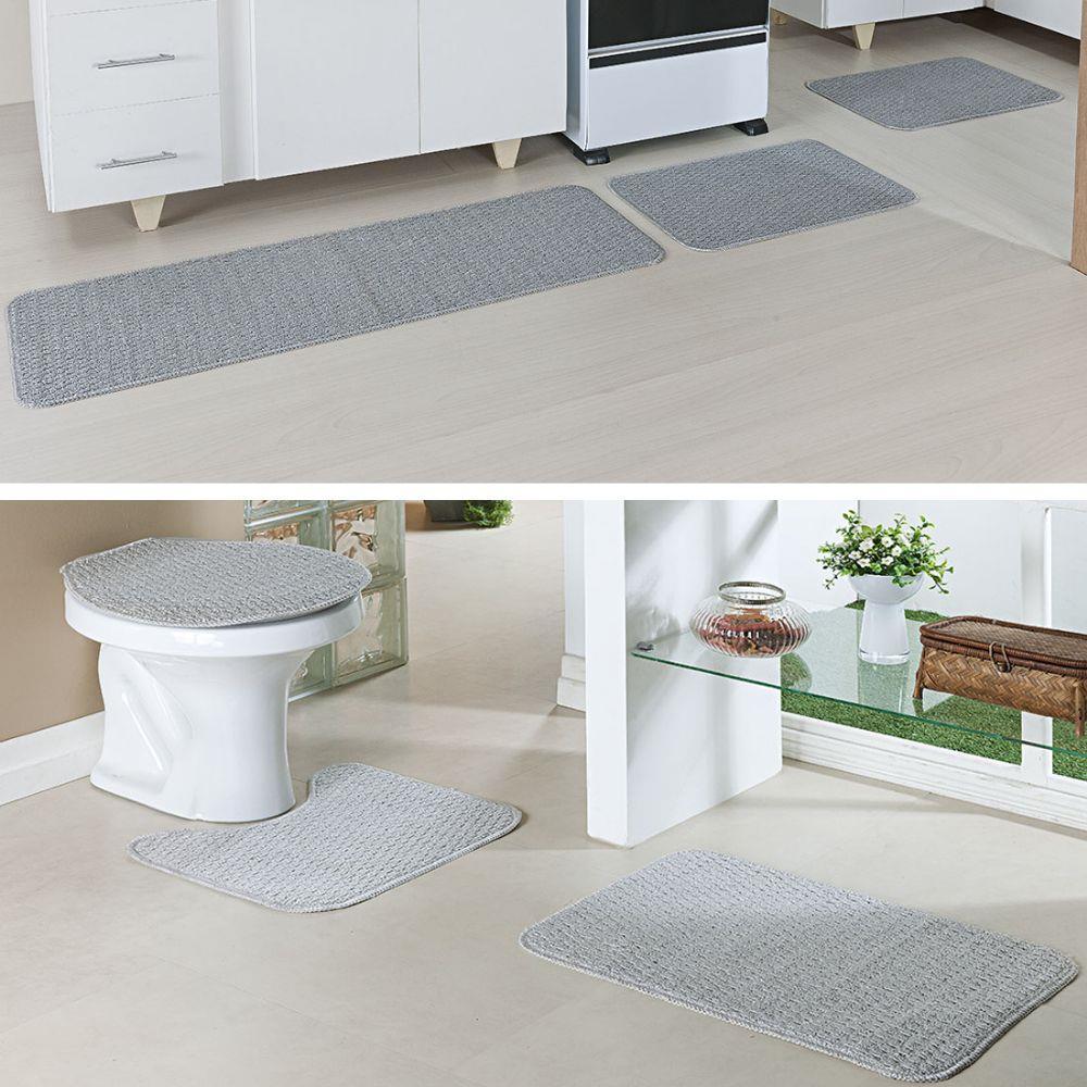 Kit Tapete 3 Peças Cada Cozinha e Banheiro Relevo Prata