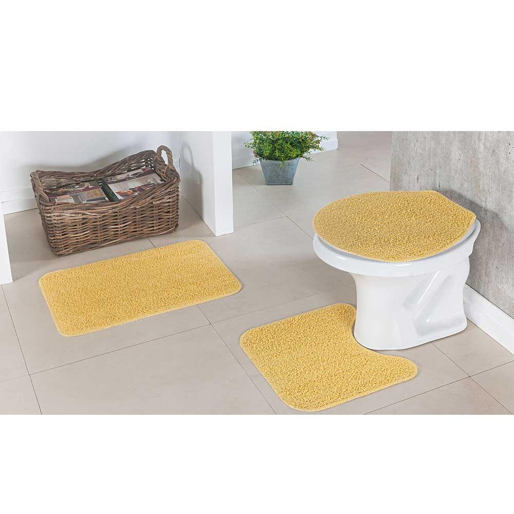 Kit Tapete Amarelo Para Banheiro 100% Algodão Natura 3 Peças