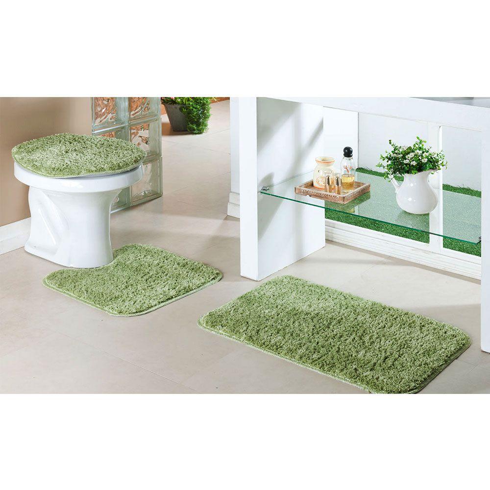 Kit Tapete Banheiro Classic 3 Peças Cada Verde e Perola