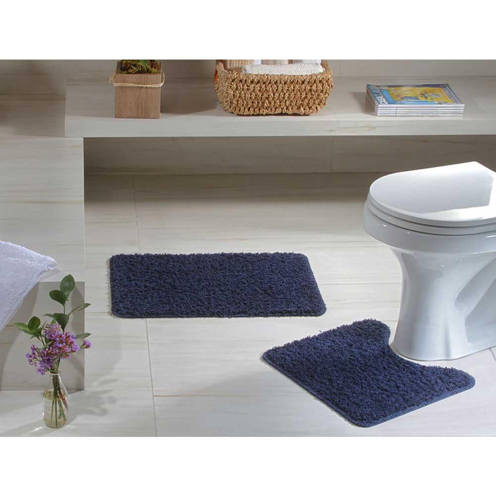 Jogo Tapete Banheiro 2 peças Natura High Azul Marinho 100% Algodão Oásis
