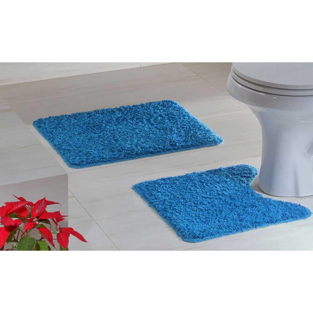 Jogo Tapete Banheiro 2 peças Natura High Azul Turquesa 100% Algodão