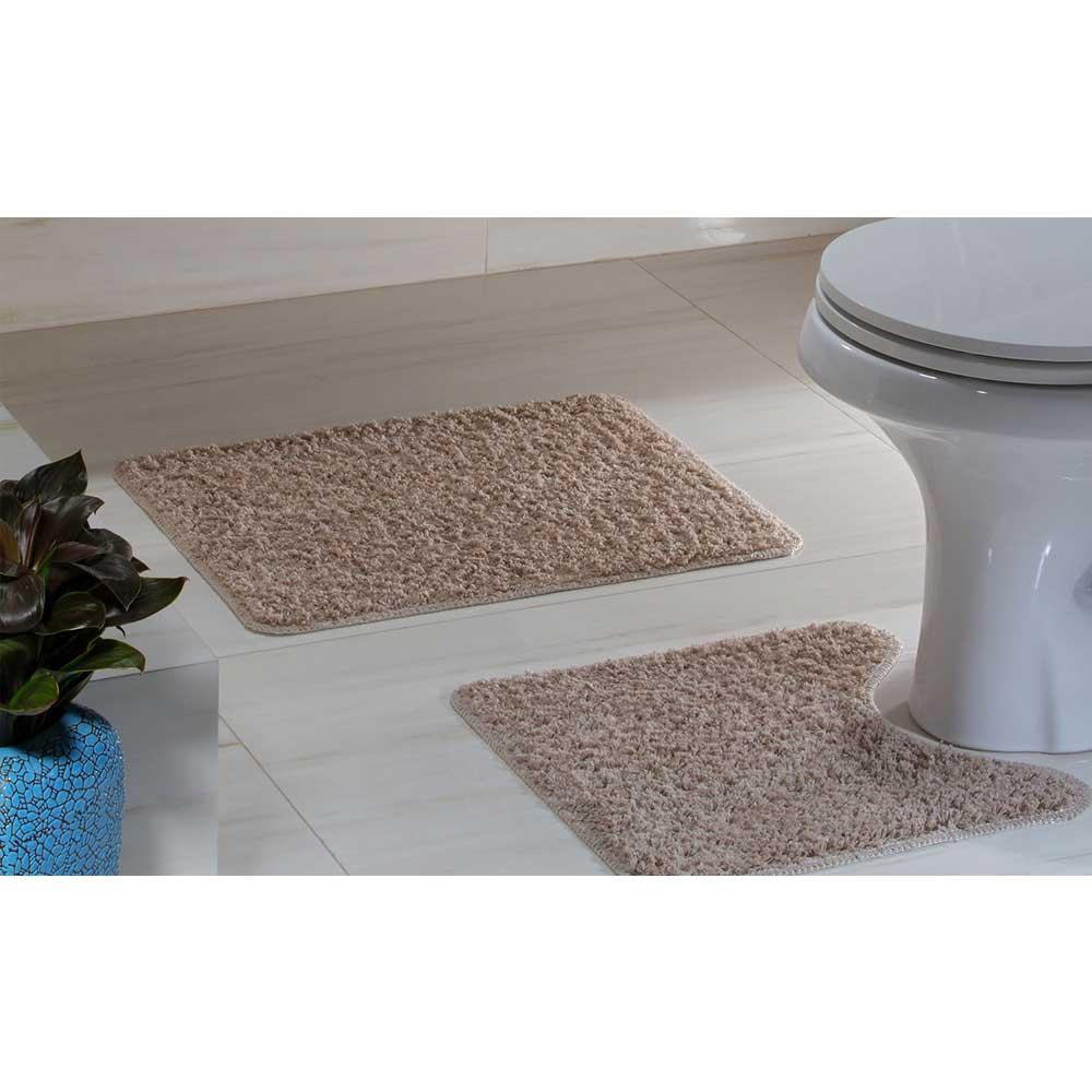 Kit Tapete Banheiro High Algodão 2 Peças Caqui Oasis