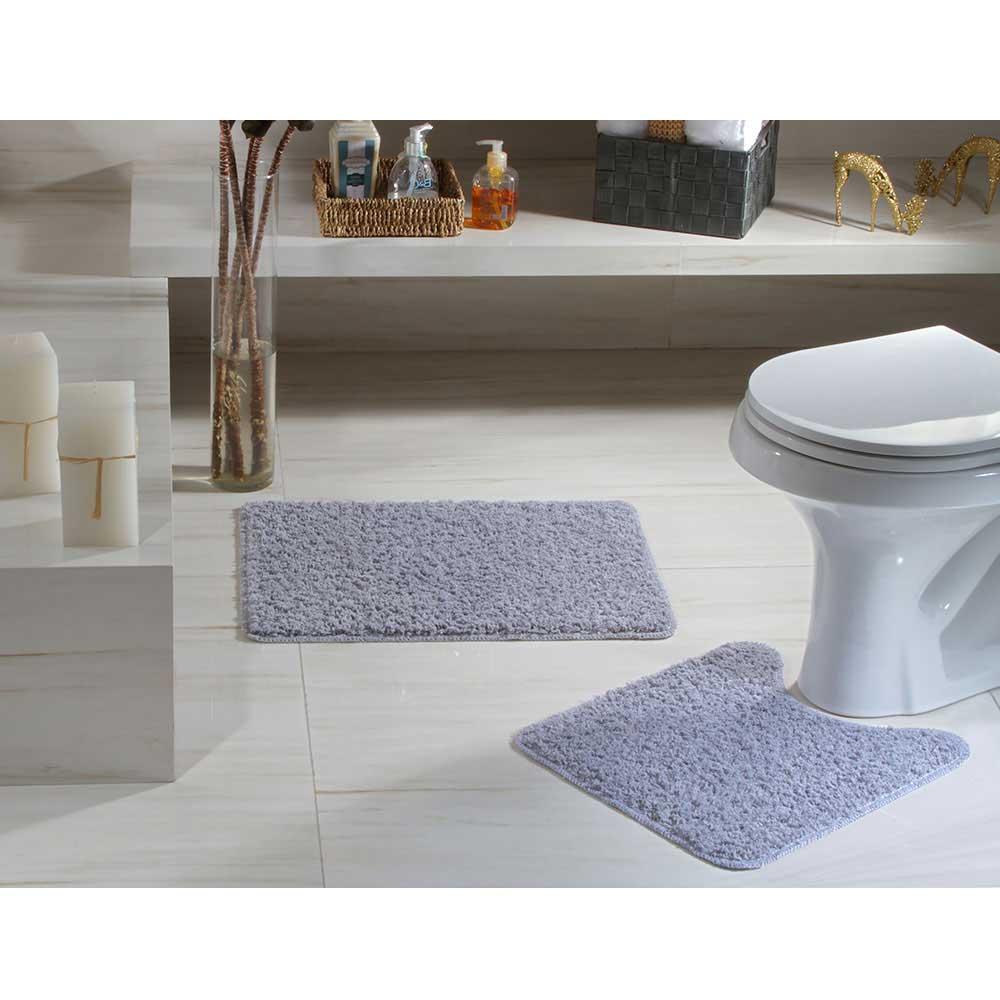 Jogo Tapete Banheiro 2 peças Natura High Cinza 100% Algodão