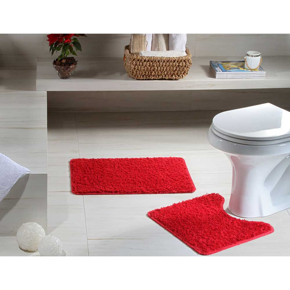Jogo Tapete Banheiro 2 peças Natura High Vermelho 100% Algodão