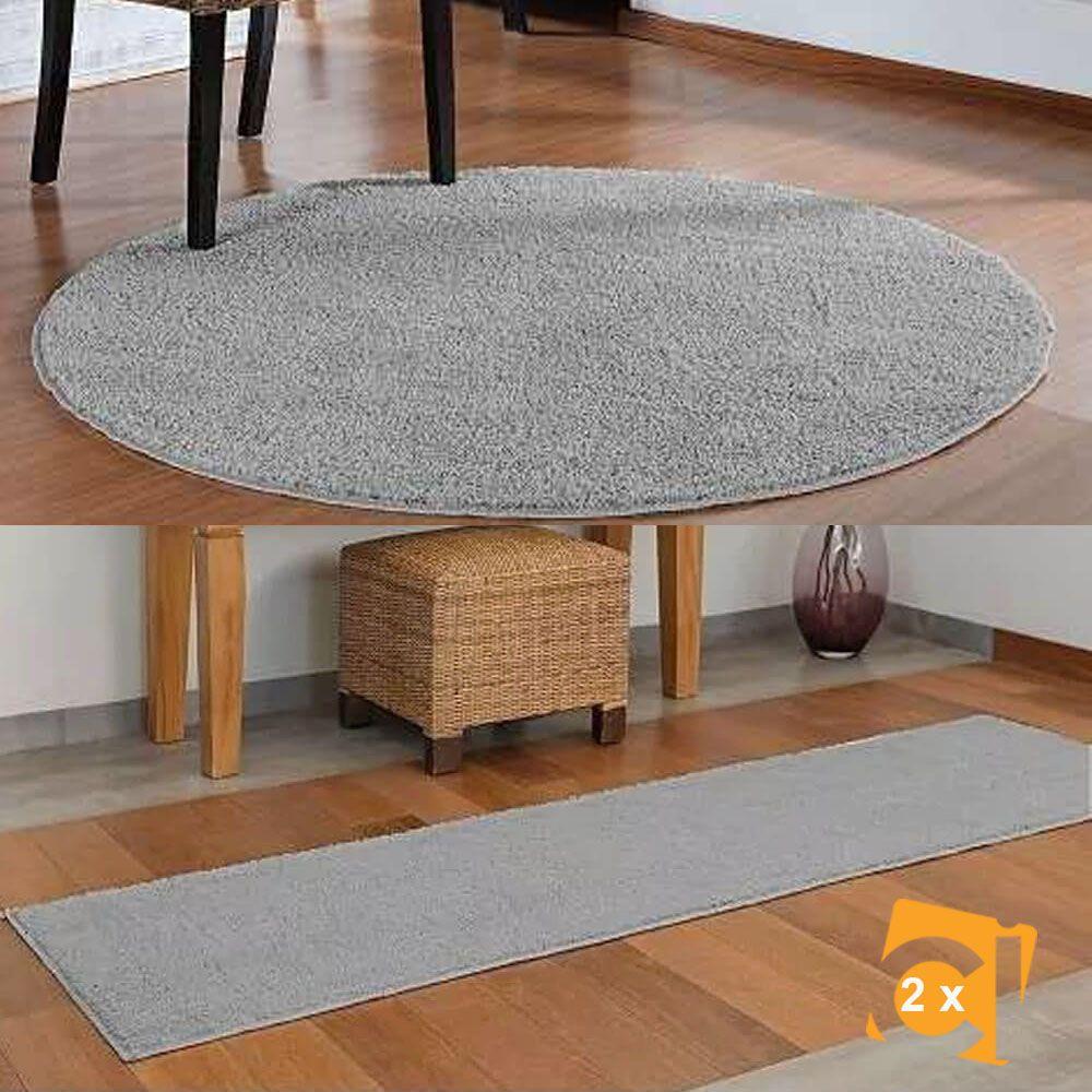Kit Tapete Classic Cinza 1 Redondo 100 cm e 2 Passadeiras 50 x 180 cm Oasis