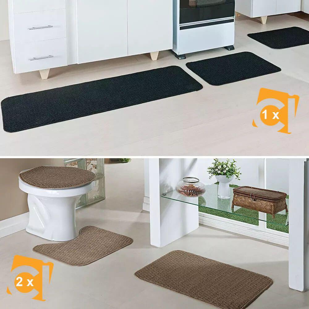 Kit Tapete Cozinha Preto E Banheiro Caramelo Relevo